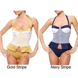 1 Sol Swimwear Women's 2-piece Seersucker Tankini