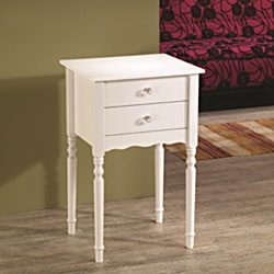 Wood Accent White Cabinet Side End Table with Drawer