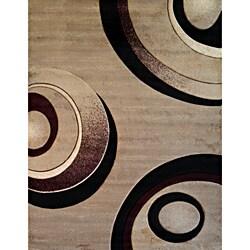 Circles Beige Modern Area Rug (7'10 x 9'10)