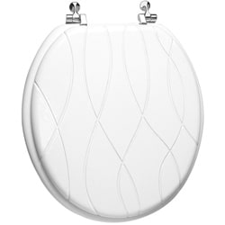 Trimmer Engraved Criss Cross Design Wood Toilet Seat