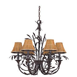 Six Light Forest Bronze Moorea Chandelier