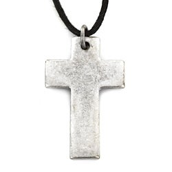 Aged Silvertone Cross Necklace