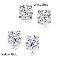 14k Gold Clarity-enhanced Diamond Stud Earrings (E-F, H-I, J-K / VS1-VS2, SI1-SI2, I1-I2, I3)