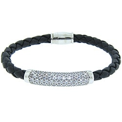 Eternally Haute Italian Sterling Silver Pave Braided Leather Magnet Bracelet
