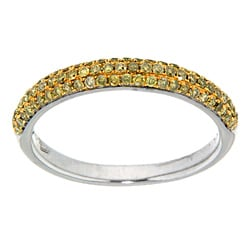 D'sire 10k White Gold 3/7ct TDW Yellow Diamond Ring