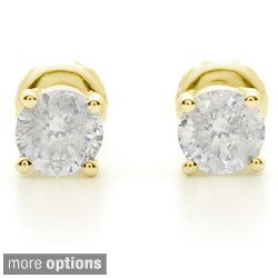 18k Gold 1 1/2ct TDW Certified Clarity-enhanced Diamond Stud Earrings