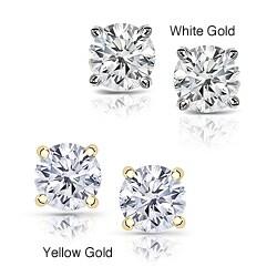 14k Gold 1 1/4ct TDW Clarity-enhanced Diamond Stud Earrings
