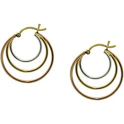 High-polish Gold over Sterling Silver Tricolor Hoop Earrings