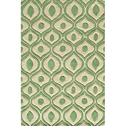 Hand Tufted Modern Waves Green Polyester Rug (8' x 10')