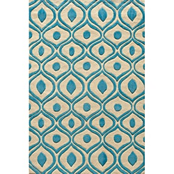 Hand Tufted Modern Waves Teal Polyester Rug (8' x 10')