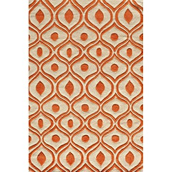Hand Tufted Modern Waves Orange Polyester Rug (8' x 10')