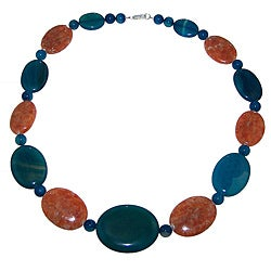 Graduated Blue Agate and Orange Quartzite Beaded Necklace