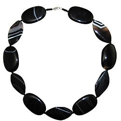 Black Banded Agate 24-inch Necklace