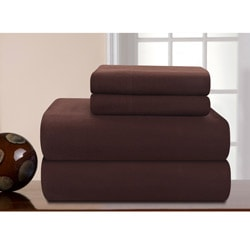 Pointehaven Chocolate Solid Heavy Weight Cal King Flannel Sheet Set