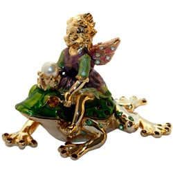 24K Gold-plated Cristiani Fairy on a Frog Multicolored Trinket Box