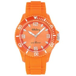Tekday Women's Orange Plastic Silicone Watch
