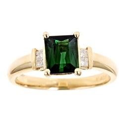 D'yach 14k Gold Green Tourmaline and 1/10ct TDW Diamond Ring (G-H, I1-I2)