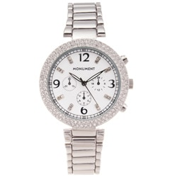 Monument Women's 'Glam' Stainless Steel Silvertone Watch