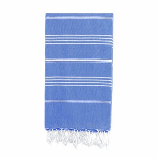 Authentic Pestemal Fouta Original Fouta Royal Blue and White Stripe Turkish Cotton Bath/ Beach Towel
