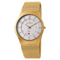 Skagen Men's Classic 233XLGG Gold Stainless-Steel Quartz Watch with White Dial