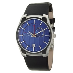Skagen Men's Black Leather Dual Time Zone Stainless Steel Watch