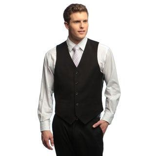 Dockers Men's Herringbone Black Solid Suit Separates Vest