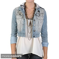 Journee Collection Juniors Cropped Snake Print Hooded Denim Jacket