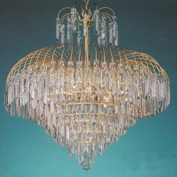 Shower 12-light Gold Crystal Chandelier
