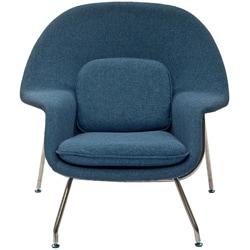Eero Saarinen Style Blue Tweed Chair/ Ottoman Set