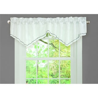 L'Amour Eternel Black/ White Faux Silk Romana Ruffle Window Valance