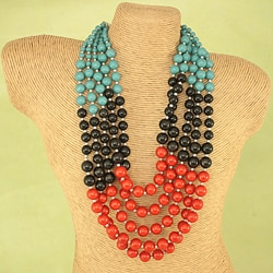 Handcrafted Turquoise, Black and Orange Bead Necklace (India)