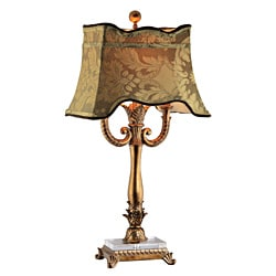 Twin Lamp Poly with Gold Scallop Printed Shade