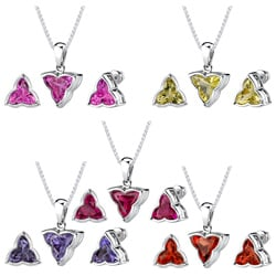 Sterling Silver Flower-cut Gemstone Jewelry Set