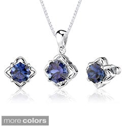 Sterling Silver Concave-cut Gemstone Jewelry Set