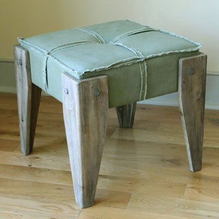 International Caravan Rustic Elegance Tufted Fabric Stool