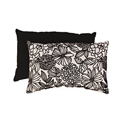 Pillow Perfect Black/ White Flocked Floral Rectangular Throw Pillow