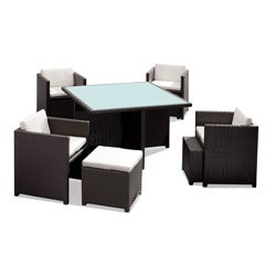 Naples Synthetic Weave Espresso Outdoor Table Set