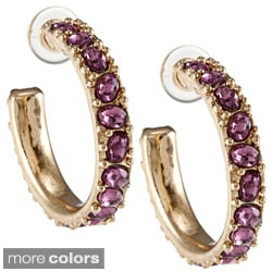Kenneth Jay Lane Goldtone Crystal Hoop Earrings