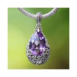 Sterling Silver 'Lavender Teardrop' Amethyst Necklace (Indonesia)