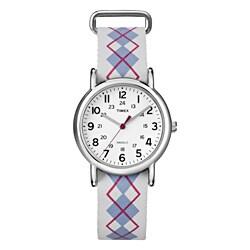 Timex T2N918KW Women's Weekender Slip Thru Argyle Patterned Leather Strap Watch
