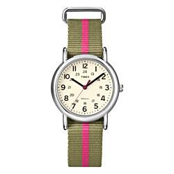 Timex T2N917KW Women's Weekender Slip Thru Olive/ Pink Stripe Nylon Strap Watch