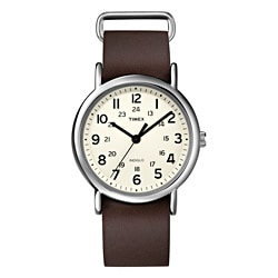 Timex Unisex T2N893 Weekender Slip Thru Brown Leather Strap Watch