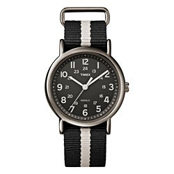 Timex Unisex T2N889 Weekender Slip Thru Black/Grey Stripe Nylon Strap Watch
