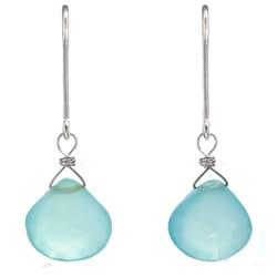 Ashanti Aqua Chalcedony Briolette Dangle Sterling Silver Earrings (Sri Lanka)