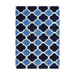 Alliyah Handmade Tufted Azure Blue New Zealand Blend Wool Rug (9' x 12')