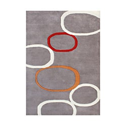 Alliyah Handmade Tufted Metro Circles Grey New Zealand Blend Wool Rug 9' x 12'