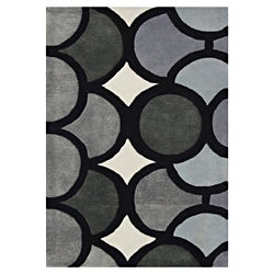 Alliyah Hand Made Tufted Metro Circles Grey New Zealand Blend Wool Area Rug 9' x 12'