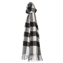 Burberry Ivory and Black Check Cashmere Scarf
