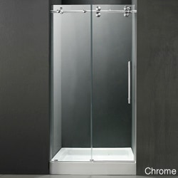 VIGO 60-inch Frameless Center Drain Shower Door 0.375-inch Clear Glass With White Base