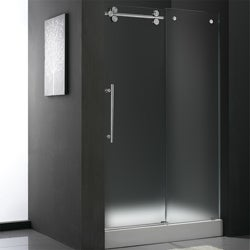 VIGO 48-inch Frameless Center Drain Shower Door 0.375-inch Frosted Glass With White Base